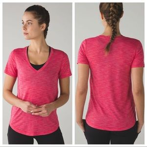 Lululemon What the Sport Tee in Magenta Gold SZ 6